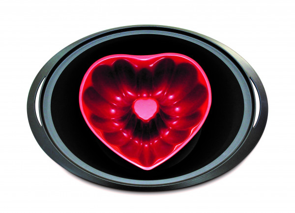 Herz-Backform für den Varoma│Thermomix® TM6 TM5 TM31 │Rot │Karbonstahl mit Antihaftbeschichtung